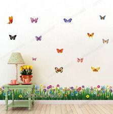 Gran colorido Mariposas Hierba Arte Calcomanía Pegatinas De Pared Mural Hogar Decoración UK