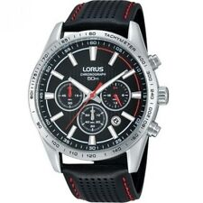 Lorus Chronograph Black Dial Black Leather Strap Gents Watch RT301DX9