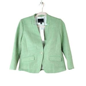NWT BANANA REPUBLIC womens size 4P green tweed single button career wear blazer
