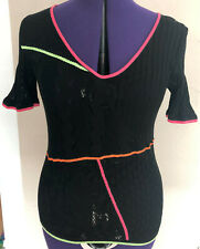 Escada Shirt Pullover Pulli Top Tunika Feinstrick Strick schwarz neon w. NEU