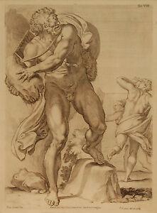 POLIFEMO ACI Polyphemus Acis Incisione Originale 1700 Cesio Carracci Westerhout