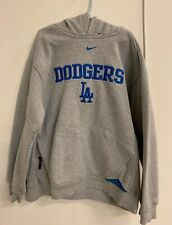Nike LA Dodgers Grey and Blue Baseball Hoodie Sweatshirt Boy's M Los Angeles