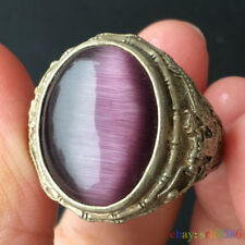 Collectible Chinese style purple opal Tibet Silver dargon men's Ring size 9#