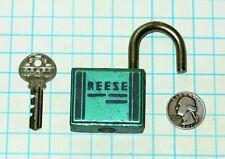 Vtg Antique Sea-foam Green Art Deco Reese Lock Co. Warded Padlock & Original Key