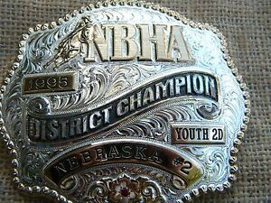Gist Silversmith N B H A  1995 DISTRICT Champion Rodeo belt buckle YOUTH 2D