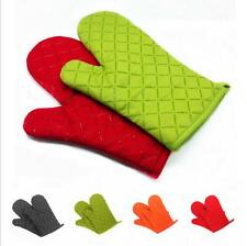1 Pair Cotton Silcone Double Oven Gloves Heat Resistant Padded Insulated Mitts