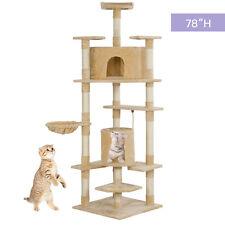 "New listing 78"" New Kitten Cat Tree Condo Scratcher Furniture Post Pet House in Beige"