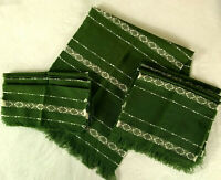 Vintage Boho Handwoven Table Linens Runner Placemats Napkins Green 70s 80s
