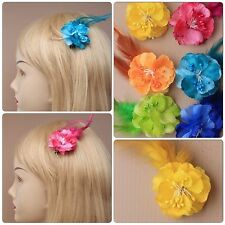 FLOWER & FEATHER BEAK CLIP 6 COLOURS WEDDING PROM PARTY WEAR HAIR CLIPS