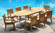 """DSGV Grade-A Teak 9 pc Dining 117"""" Oval Table Arm Chair Set Outdoor Patio New"""