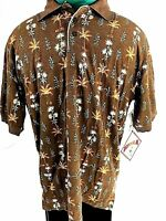 Caribbean Joe Short Sleeve Casual Shirt Mens Size Small Coconut Brown
