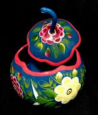 Hand painted lidded Gourd Trinket Box - Cute & Colorful from Mexico