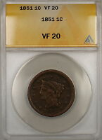 1851 Braided Hair Large Cent 1c Coin ANACS VF-20 (E)