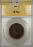1851 Braided Hair Large Cent 1c Coin ANACS EF-45