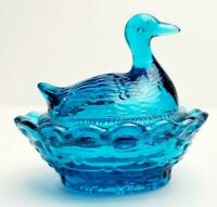 "Vtg Boyds Mini Duck on Nest Covered Salt Dish 2.5"" - Blue Flame"