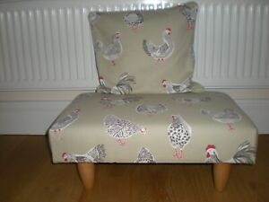 Footstool with Cushion in Country Cockerel/Chicken Fabric