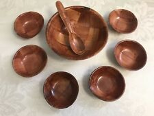 "Vintage Wood Weave 8 PC Set 3.5"" Dip Salsa Tasting Bowls Spoon 6"" Server Samples"