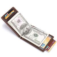 Genuine Leather Men's RFID Blocking Bifold  Credit Card Holder Money Clip Wallet