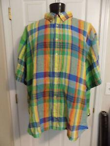 RALPH LAUREN Classic Fit Short Sleeve 100% Linen Shirt, 5XB, Multi Color Plaid
