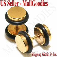 2093 Fake Cheater Illusion Faux Ear Plugs 16G Surgical Steel 0G 8mm Gold Medium