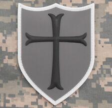 3D PVC CROSS CRUSADER SHIELD COMBAT ARMY ACU VELCRO® BRAND FASTENER PATCH