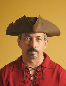 Leather Pirate Hat Medieval Celtic Renaissance Tricorn Triangle Old Pirate Hat