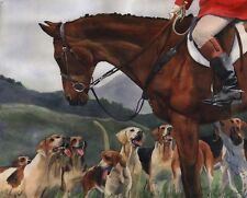 Giclee Print Foxhunt Hounds Horse Thoroughbred Art Painting Warmblood Foxhound