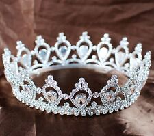 Princess Round Tiara Diadem Rhinestone Crown Wedding Bridal Pageant Party Prom