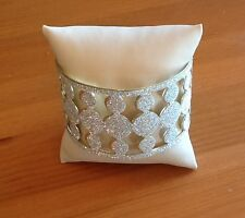 """GLITTER """"DIAMOND DUST"""" CIRCLE CUFF.GORGEOUS.Yellow Gold Plated. """"IN THINGS""""6.75"""""""
