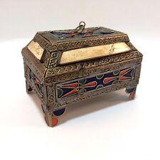 Enameled Metal Trinket Box Decor Box Hinged Stone Velvet Gold Metal 10 cm