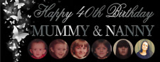 Birthday Party Banner 18th/21st/30th/40th/50th Silver Butterflies decoration