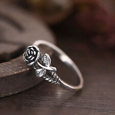 1PC Ladies Vintage Silver Plated Marcasite Rose Flower Open Adjustable Ring Gift
