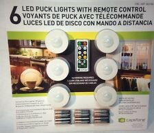 Capstone 6 LED Puck Lights Wireless w/Remote Control Timer/Dimmer Batteries Incl