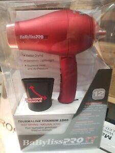 BaByliss PRO TT Tourmaline Titanium Travel Dryer 1000 Watt BABTT053T 110-220 V