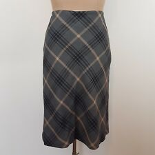 Vintage Sportsgirl Checked Skirt SZ 12 A line Grey Black Taupe Fully Lined