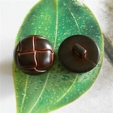 5 Faux Leather Football Coat Jacket Dome Sew On Buttons Dark Brown 20mm G82