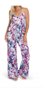 NWT In Bloom by Jonquil Pink/Aqua ARTSY ABSTRACT Slinky Knit Pajama/Lounge Set M
