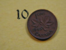1945 Canada Canadian Small 1c (One) Cent Coin,  Penny