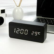LED Alarm Clock Table Watch Voice Control Digital Wood USB/AAA Powered Clock