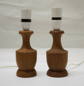 Pair of Original Vintage Mid Century Modern Teak Table Lamps - Danish?