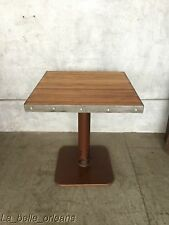 CUSTOM VINTAGE INDUSTRIAL BOWLING ALLEY TOP ENAMEL BASE TABLE