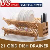 2 Tier Bamboo Dish Drying Rack Collapsible Drainer Holder Organizer For