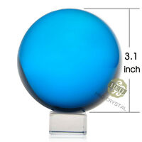Light Blue Asian Natural Quartz Magic Crystal Healing Ball Sphere +Stand 80mm