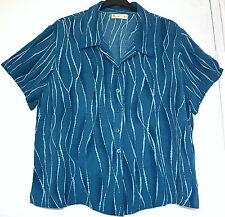 Lovely BHS Womens Blouse UK 18 Blue Striped Short Sleeve Shirt Top Work Office