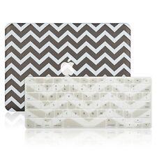 "Matte Chevron GREY Hard Case + Keyboard Cover Skin for Macbook Pro 13"" A1278"