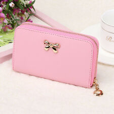 HOT Women Bowknot Coin Purse Solid Long Card Holder Case Wearable Wallet Handbag