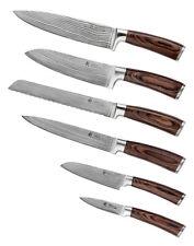 6er Damast Küchenmesser, 6er Damastmesser Set, Damast Kochmesser, Wakoli Edib