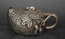 Chinese old copper plating silver hand engraving peanut and mouse teapot d02