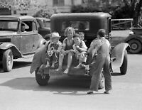 "1939 Kids in the Back of a Car Texas Vintage Old Photo 8.5"" x 11"" Reprint"