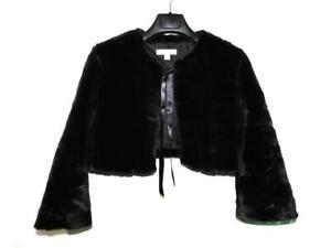 Nordstrom Caslon M Black Faux Fur Shrug Jacket Tie Front 3/4 Sleeve Cropped Md